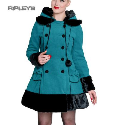 HELL BUNNY Teal Blue/Green Long SARAH JANE COAT Winter Faux Fur All Sizes